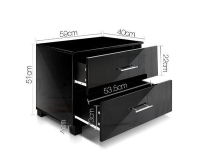 High Gloss Two Drawers Bedside Table - Black | 360HomeWare