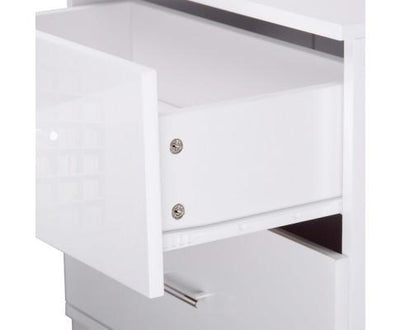 High Gloss Two Drawers Bedside Table - White | 360HomeWare