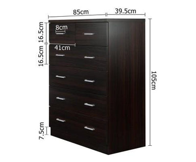 Tallboy 6 Drawers Storage Cabinet - Walnut | 360HomeWare