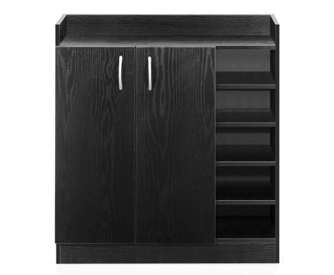2 Doors Shoe Cabinet Storage Cupboard (Black) | 360HomeWare