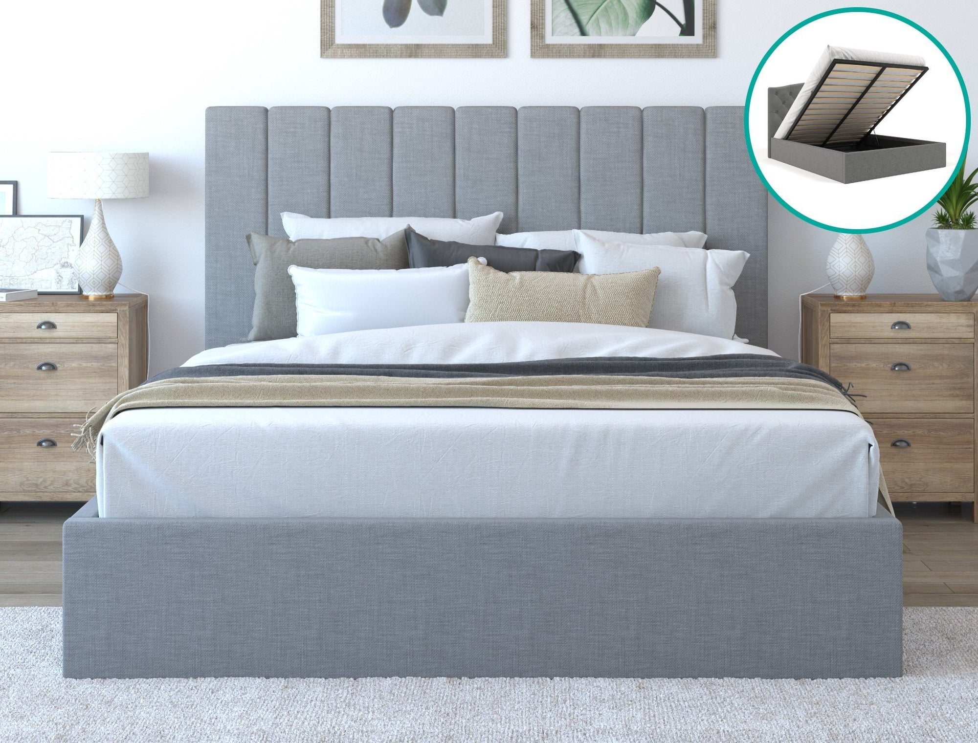 Rosa Fabric Bed Frame Gas Lift- Grey | 360HomeWare
