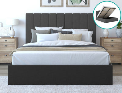 Rosa Fabric Bed Frame Gas Lift- Charcoal | 360HomeWare