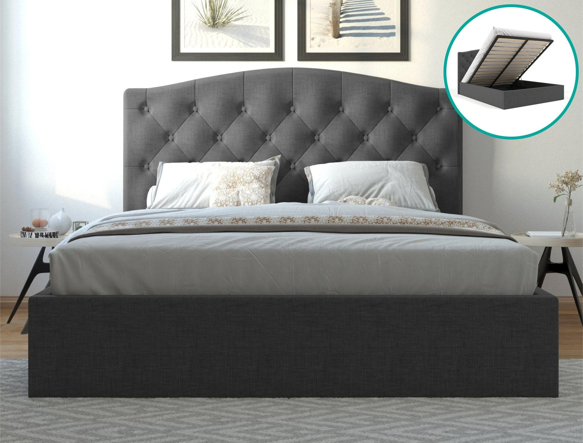 Danielle Fabric Bed Frame Gas Lift - Charcoal | 360HomeWare