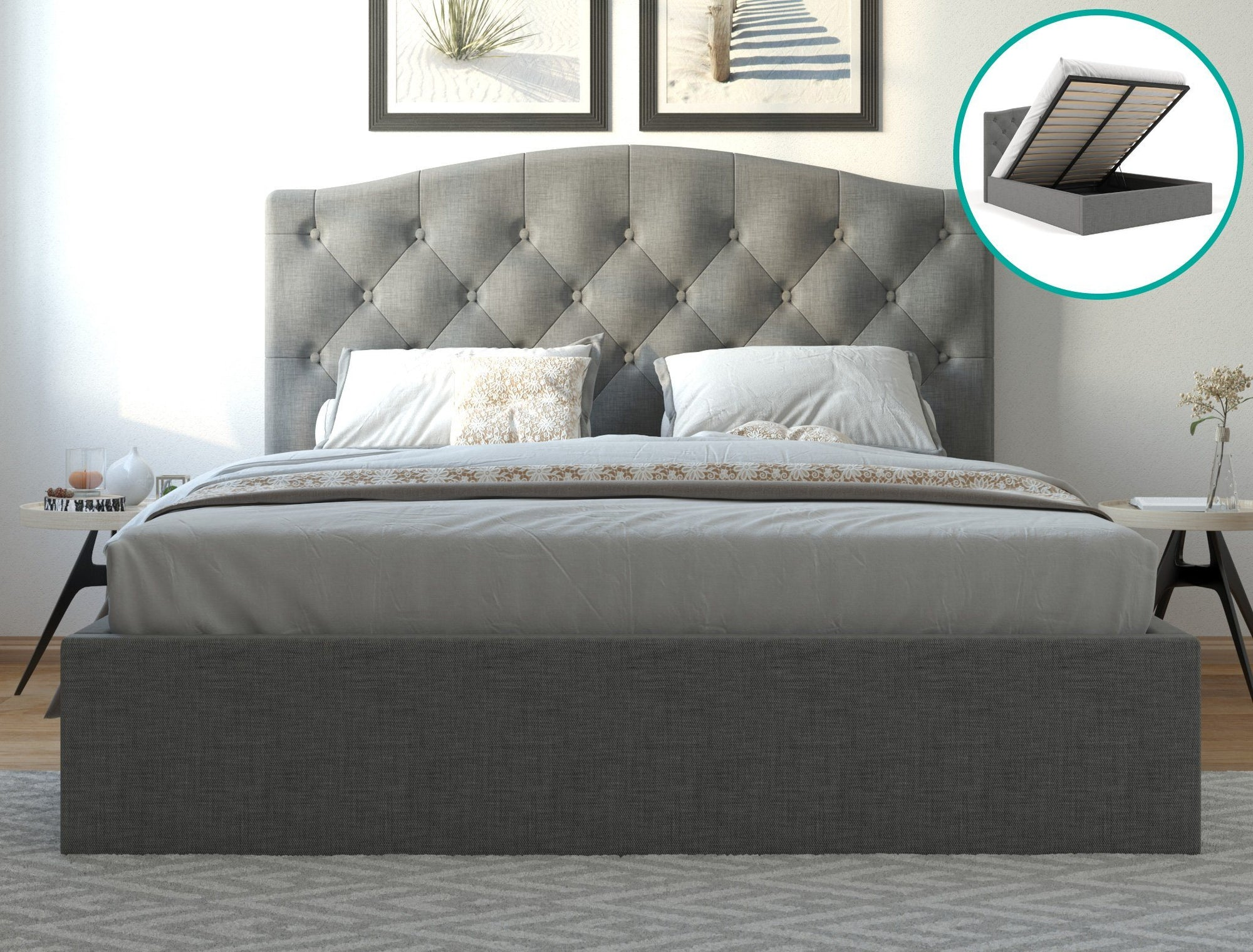 Danielle Fabric Bed Frame Gas Lift- Grey | 360HomeWare