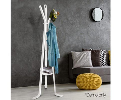 Wooden Coat Hanger Stand (White) | 360HomeWare