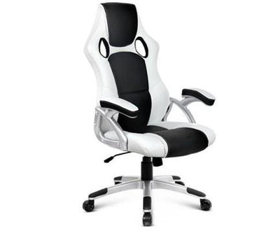 PU Leather Racing Style Office Desk Chair - Black &White | 360HomeWare