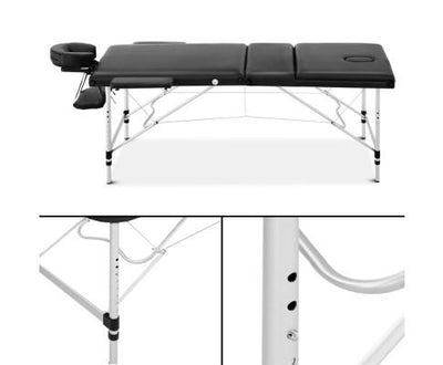 Livemor 3 Fold Portable Aluminium Massage Table - Black | 360HomeWare