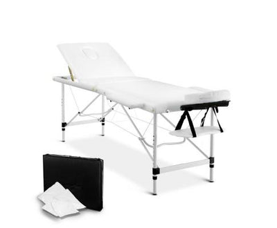 Livemor 3 Fold Portable Aluminium Massage Table - White | 360HomeWare