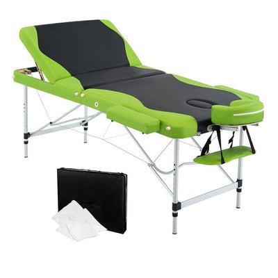Livemor 3 Fold Portable Aluminium Massage Table - Green & Black | 360HomeWare