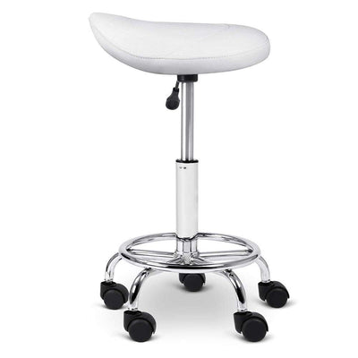 Artiss PU Leather Swivel Saddle Salon Chair - White | 360HomeWare