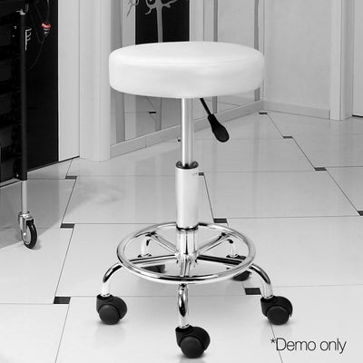 Artiss PU Leather Swivel Salon Stool - White | 360HomeWare