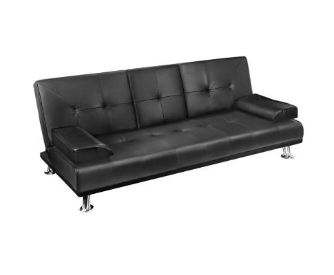 Artiss 3 Seater PU Leather Sofa Bed with 2 Cup Holders - Black | 360HomeWare