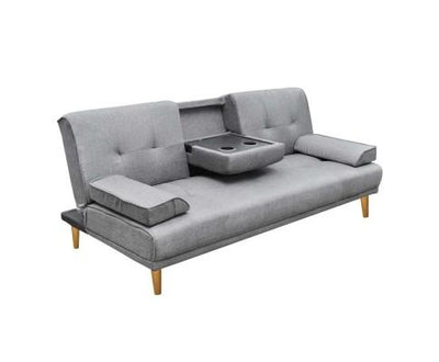 Artiss 3 Seater Fabric Sofa Bed with 2 cup holder - Grey | 360HomeWare