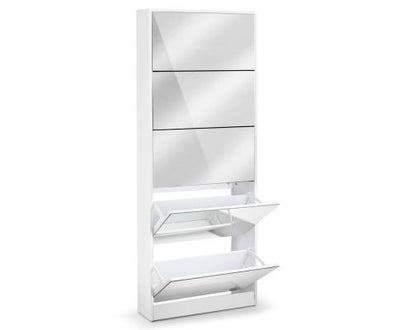 5 Drawer Mirrored Wooden Shoe Cabinet - White | 360HomeWare