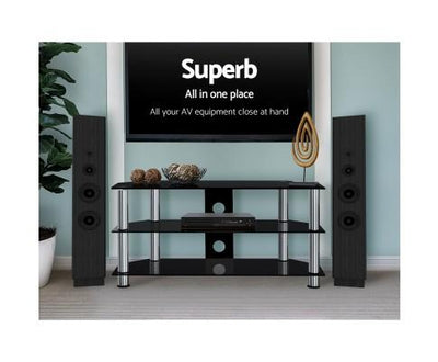 TV Stand Entertainment Unit Media Cabinet Temptered Glass 3 Tiers | 360HomeWare