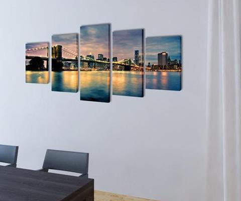 Canvas Wall Print Set - Brooklyn Bridge River View | 360HomeWare
