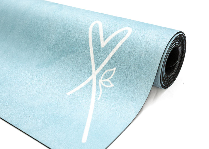 LUVe Yoga Microfibre Natural Yoga Mat - Aruba Blue