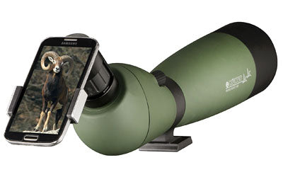 KONUS KONU SPOT Spotting Scope, GREEN, side view with phone attached
