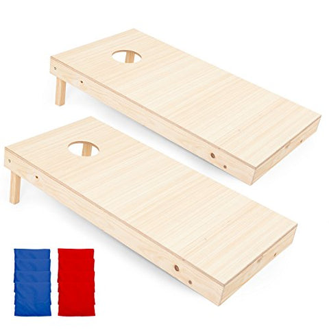 Play Platoon Regulation Wooden Cornhole Boards with Cornhole Bag Set - 2 x 4 Ft Tournament Size Wood Corn Hole Board Game