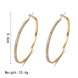 Big Circle Pave Stone Hoop Earrings