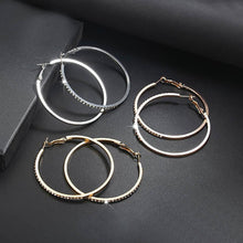 Load image into Gallery viewer, Big Circle Pave Stone Hoop Earrings
