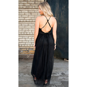 Ivy Crisscross Back Plunging Maxi Dress