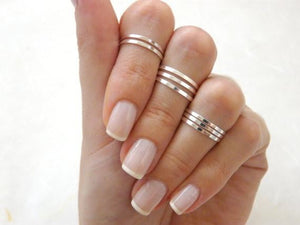 Polished Stacking Band Knuckle Ring Set