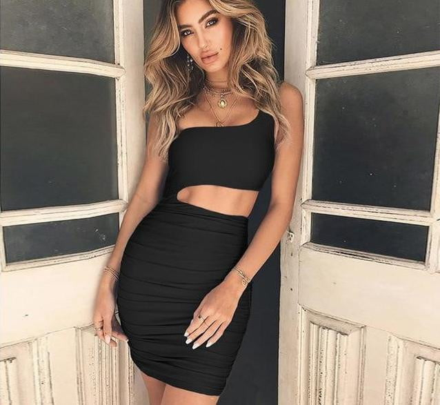 Christina One Shoulder Cutout Mini Dress