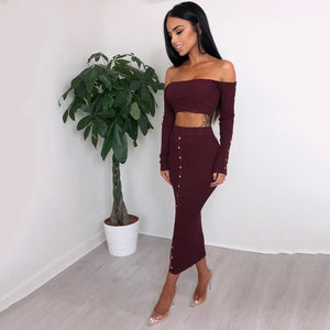 Tabby Off The Shoulder Buttoned Two Piece Set