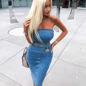 Delilah Denim Strapless Knee Length Dress