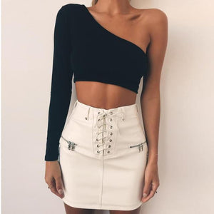 Lilith Curved One Shoulder Crop Top