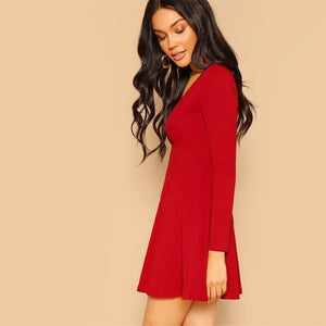 Iris Plunging Neck Rib-Knit Mini Dress