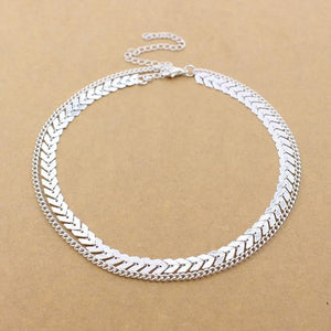 Fishbone Two Layer Choker Necklace