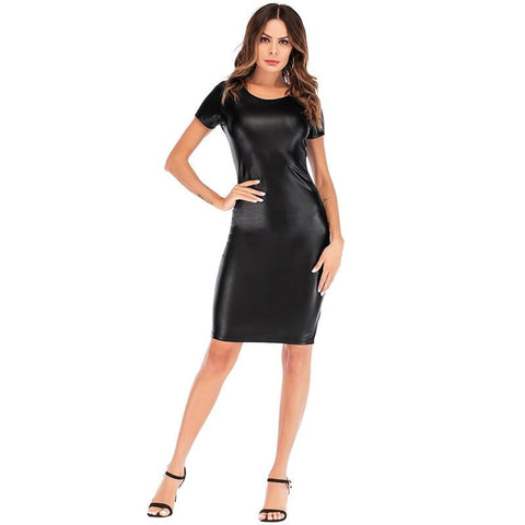 Isabella Faux Leather Knee Length Dress