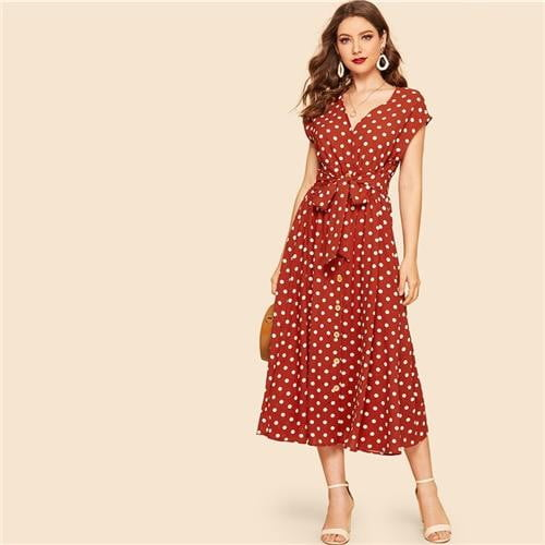 Amy Polka Dot Belted Button Shift Dress