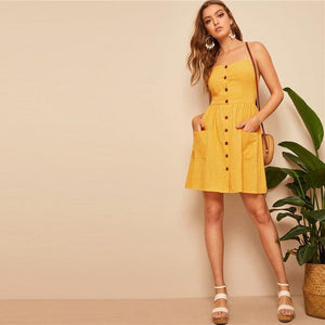 Erika Button Front Shirred Mini Dress