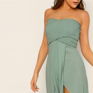 Evelyn Off The Shoulder Slit Dress