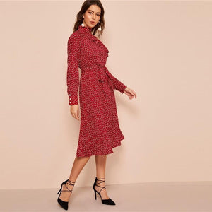 Jasmine Polka Dot Ruffle Trim Midi Dress