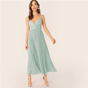 Thea Surplice Neck Pleated Cami Dress