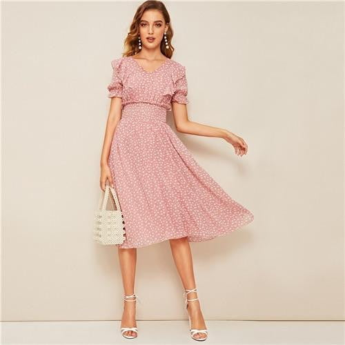 Holly Ruffled Puff Sleeve A-Line Dress