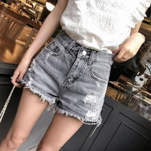 Load image into Gallery viewer, Addison Fringed Denim Shorts