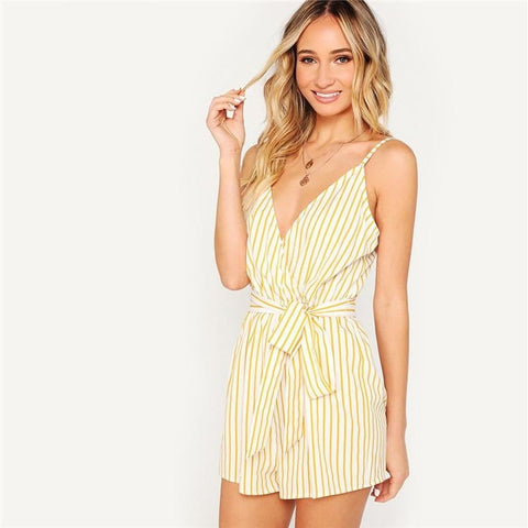 Thea Striped Wrap Cami Rompers