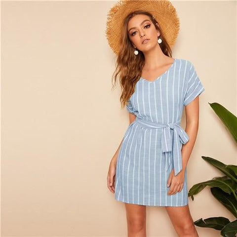 Aileen Belted Stripe Shift Dress