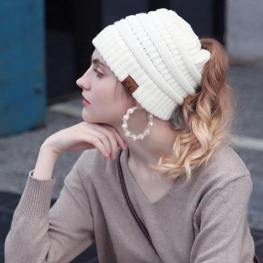 50572d6f0dcd8a 2018 CC Ponytail Beanie Cap Winter Hats For Women Soft Knit Ponytail Messy Bun  Beanie Hat