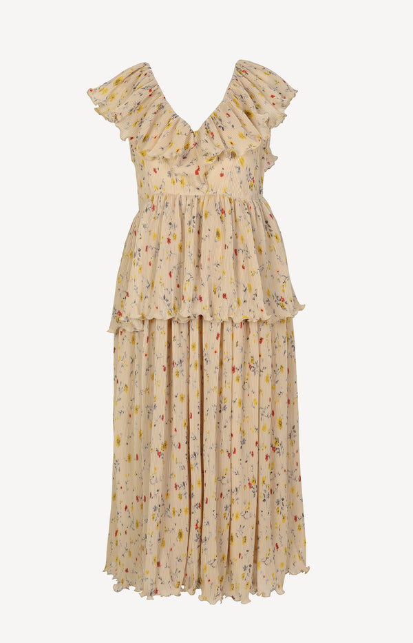Dress with flounces in nude / print