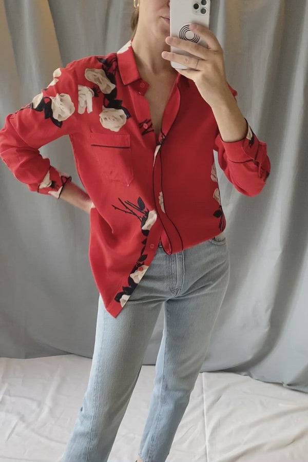 Silk blouse with red print