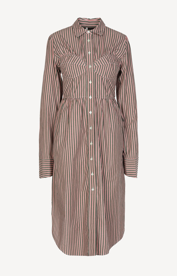 Striped blouse dress in pink / brown