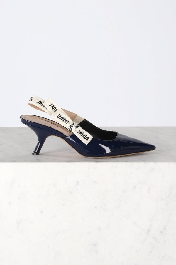 J'adior patent leather slingbacks in Navy