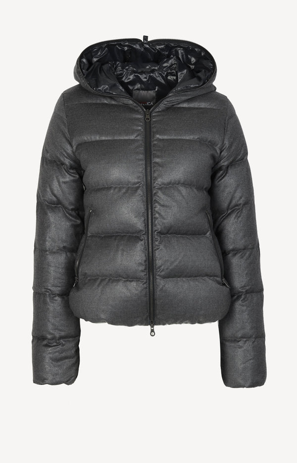 Cashmere down jacket in gray