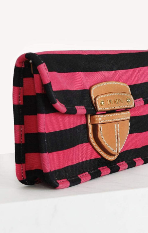 Clutch Canapa in Schwarz/Pink